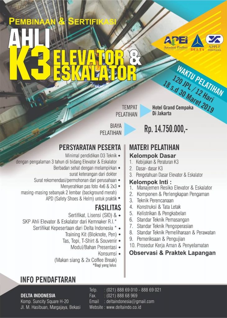 Pelatihan K3 Ahli K3 Elevator Jan 19