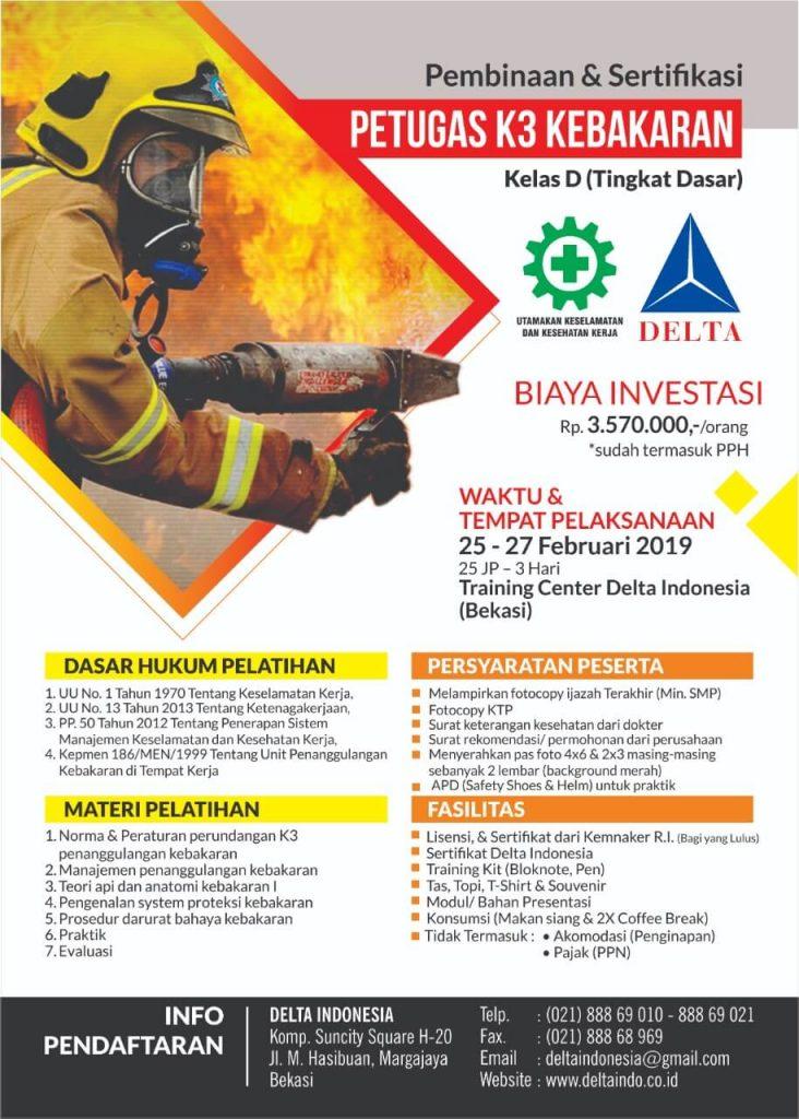 Pelatihan K3 Pembinaan dan Sertifikasi Petugas K3 Kebakaran Feb 19