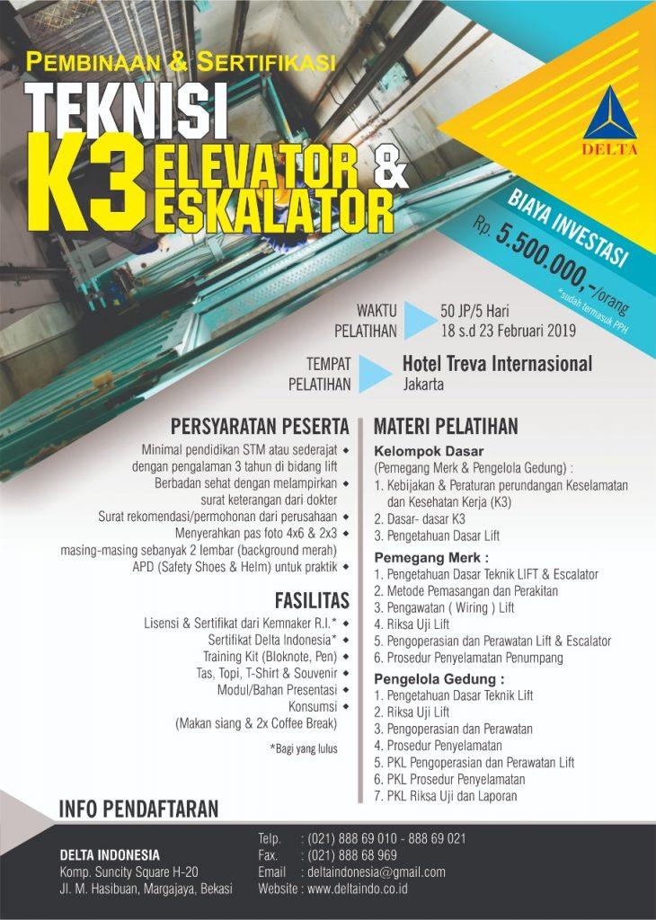 Pelatihan K3 Teknisi Elevator Feb 19