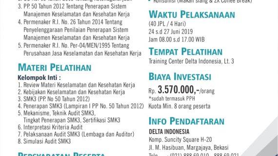Pembinaan dan Sertifikasi Auditor SMK3 Juni 2019