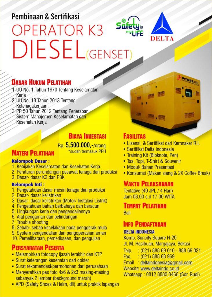Pelatihan & Sertifikasi Operator K3 Diesel Februari 2019