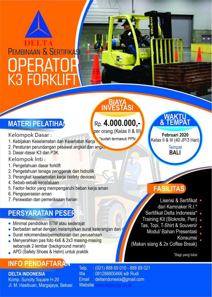 Pelatihan & Sertifikasi Operator K3 Forklift Februari 2019