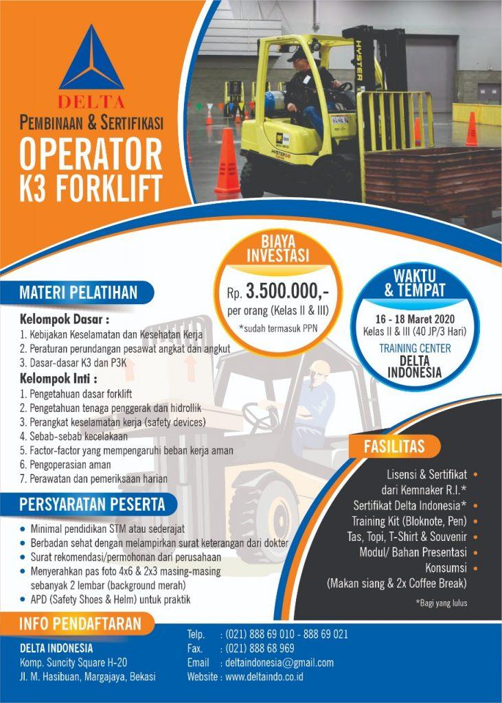 Pelatihan dan Sertifikasi Operator K3 Forklift Maret 2020