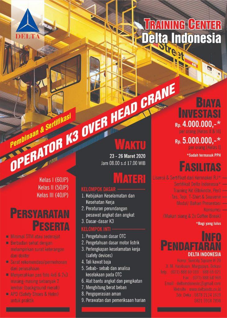 Pelatihan dan Sertifikasi Operator K3 Over Head Crane Maret 2020