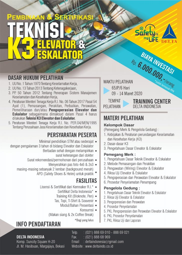 Pelatihan dan Sertifikasi Teknisi K3 Elevator & Eskalator Maret 2020