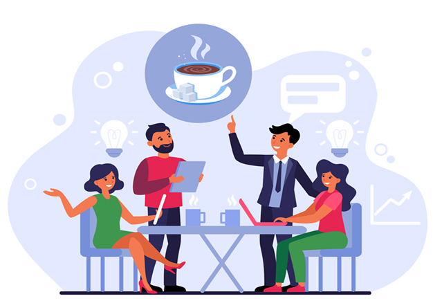 Making order in coffee shop. Group of people at table with hot drinks and waiter flat vector illustration. Meeting, coffee break, friendship concept for banner, website design or landing web page